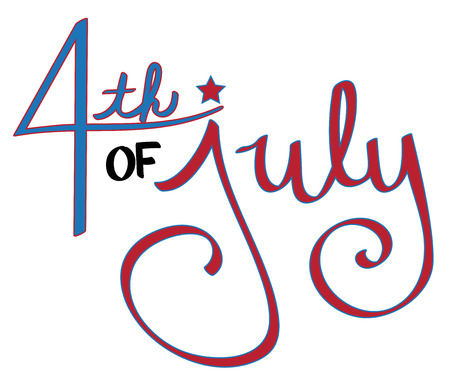 July 4th illustration on a white background.