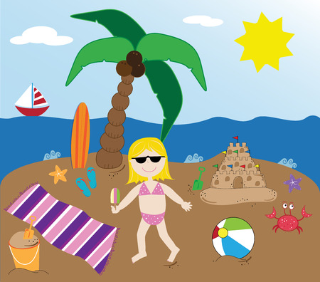 Summer Beach Time concept vector Illustration