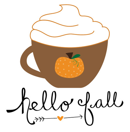 Hello Fall lettering with Pumpkin Spice Coffee vector