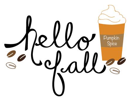 Bonjour lettrage d'automne avec le vecteur café Banque d'images - 89766924