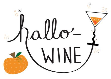 Happy Halloween with Hallo Wine lettering vector
