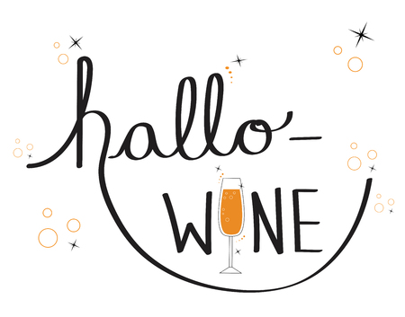 Happy Halloween with Hallo Wine lettering vector