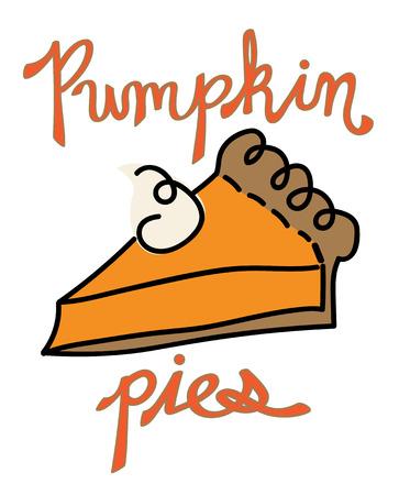 感謝祭のかぼちゃパイ ベクトル  イラスト・ベクター素材