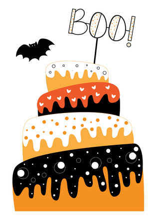 Happy Halloween Cake Illustration