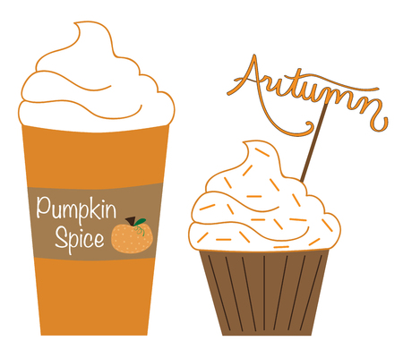 Pumpkin Spice Latte and Muffin vector