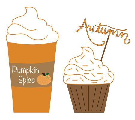 Pumpkin Spice Latte en Muffin vector Stock Illustratie