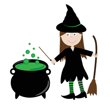 Halloween Witch and Brew vector Illustration