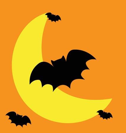 Halloween Moon and Bats vector Illustration