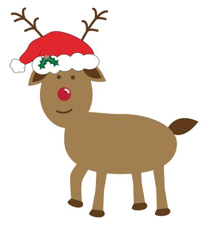 Christmas Reindeer Wearing Santas Hat in cartoon illustration. Illustration