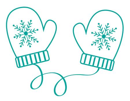 Winter Time Mittens Gloves illustration.