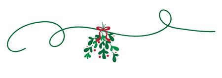 Merry Christmas Mistletoe illustration.
