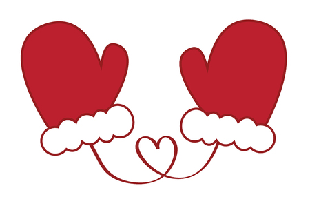 Christmas concept, Pair of red mittens.