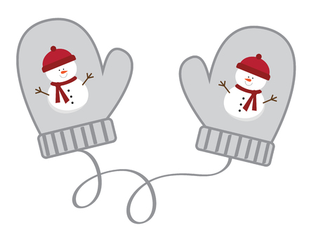 Christmas concept, pair of mittens with snowman design.