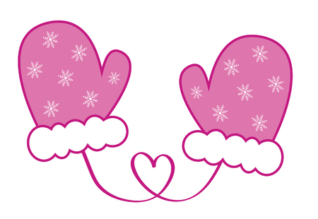 Pink Snowflake Mittens illustration.