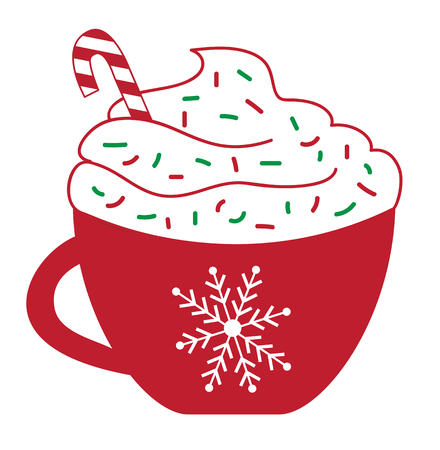Christmas Concept, Peppermint Latte with red and green sprinkles and candy cane in red cup.