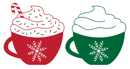 Christmas Element, Two Peppermint Coffees in red and green cup. Ilustração