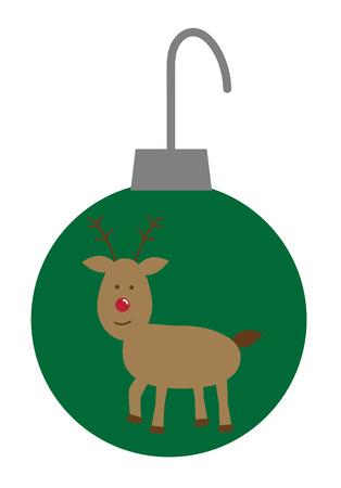 Merry Christmas Reindeer Ornament illustration.