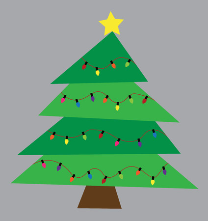 Merry Christmas Tree with Lights Vector Illustration