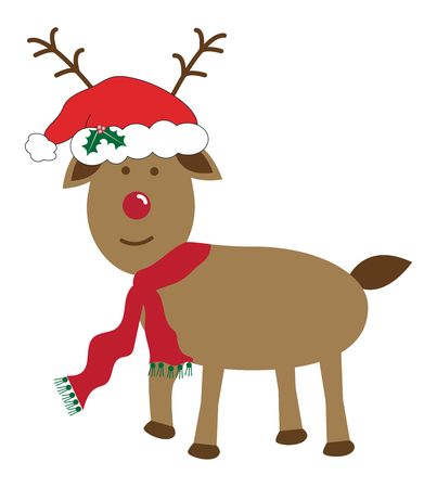 Merry Christmas Reindeer Illustration