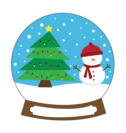 Merry Christmas Snowglobe Illustration