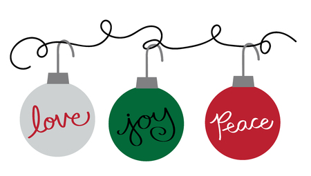 Merry Christmas Ornaments Hanging Illustration