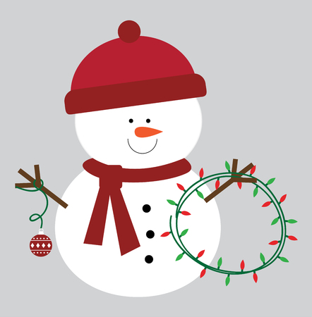 Merry Christmas snowman illustration on white background. Illustration