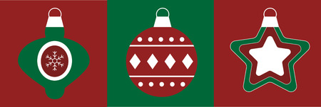 Merry Christmas ornaments illustration on green and red background.