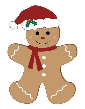 Merry Christmas gingerbread man illustration on white background.