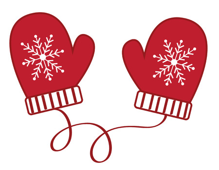 Christmas winter mittens illustration on white background. Illusztráció