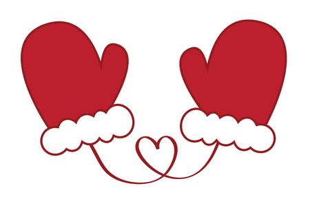 Santa Christmas mittens illustration on white background.