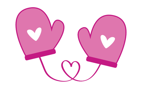 Love heart mittens illustration on white background. Illusztráció