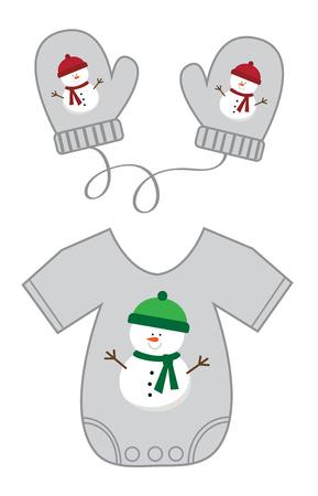 Christmas Baby clothes illustration on white background. Illusztráció