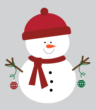 Christmas ornament snowman wearing scarf and hat illustration.