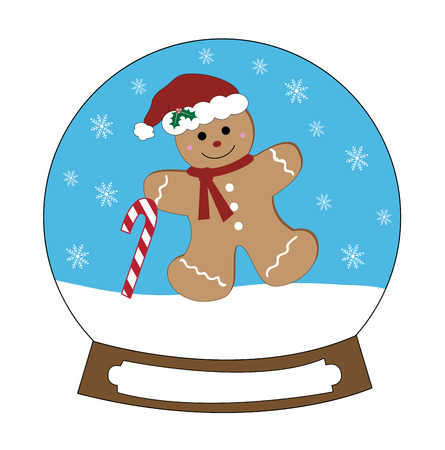 Snow globe gingerbread man with candy cane illustration on white background.