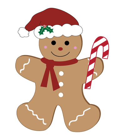 Gingerbread man with candy cane illustration on white background.