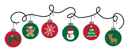 Merry Christmas ornaments illustration on white background.