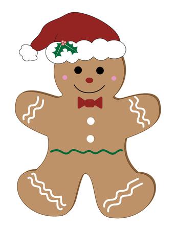 Christmas gingerbread man illustration on white background.