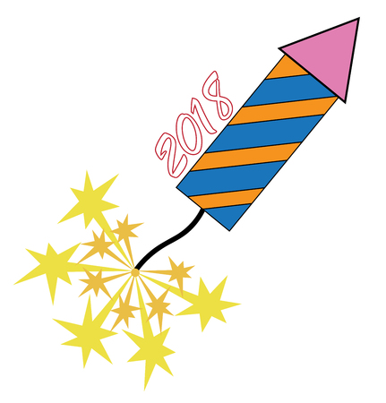 2018 New Years rocket illustration on white background.