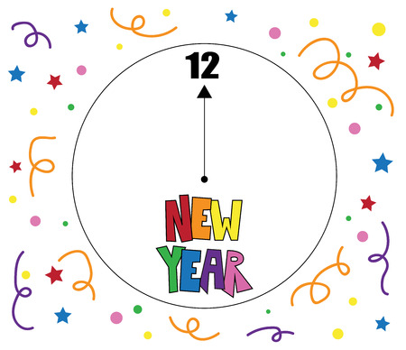 New Years count down illustration on white background.