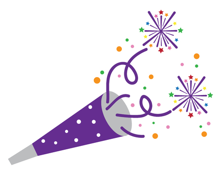 New Years blower illustration on white background.