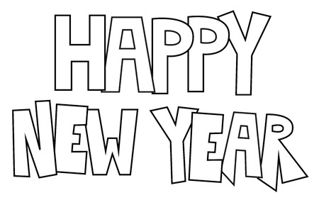 happy new year coloring page illustration on white background stock vector 92994518