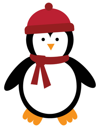 Merry Christmas penguin illustration on white background.