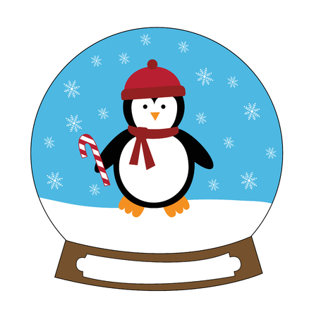 Christmas penguin holding candy cane illustration on white background.