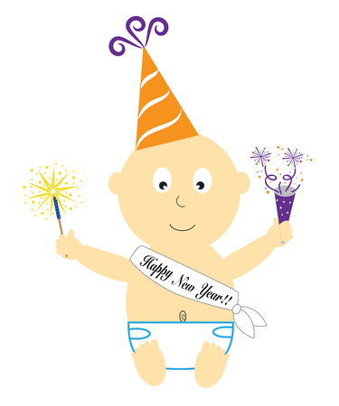 Happy New Year baby illustration on white background.