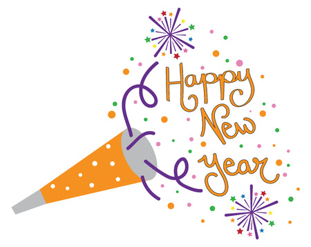 Happy New Year party blower illustration on white background. Illustration