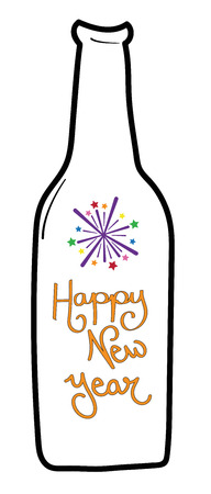 happy new years beer bottle illustration on white background stock vector 92994543