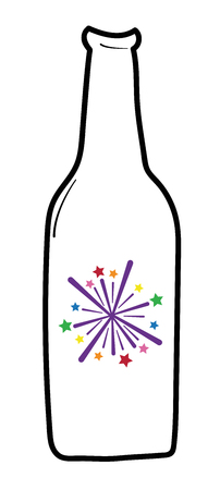 Happy New Years firework beer illustration on white background.
