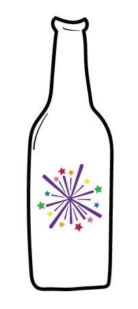 Illustration de bière Happy New Years feu d'artifice sur fond blanc. Banque d'images - 92995280