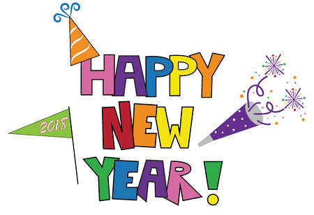 Happy New Years party illustration on white background.
