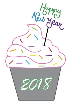 Happy New Years 2018 Cupcake Vector illustration.